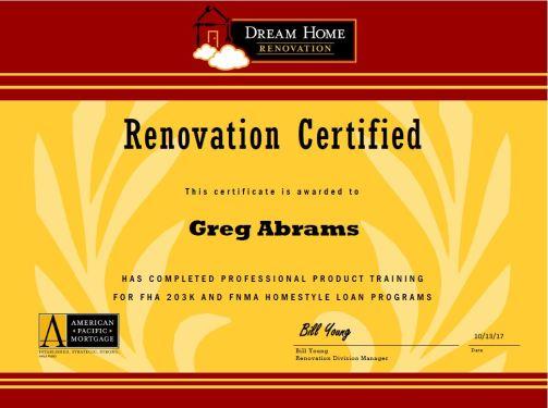 Dream Home Reno Cert_GREG ABRAMS